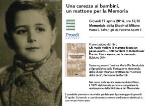 Giovedì 17 Aprile, alle 18.30 Memoriale della Shoah, Milano