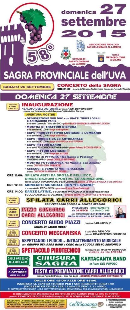 San Colombano al Lambro - programma festa dell'uva