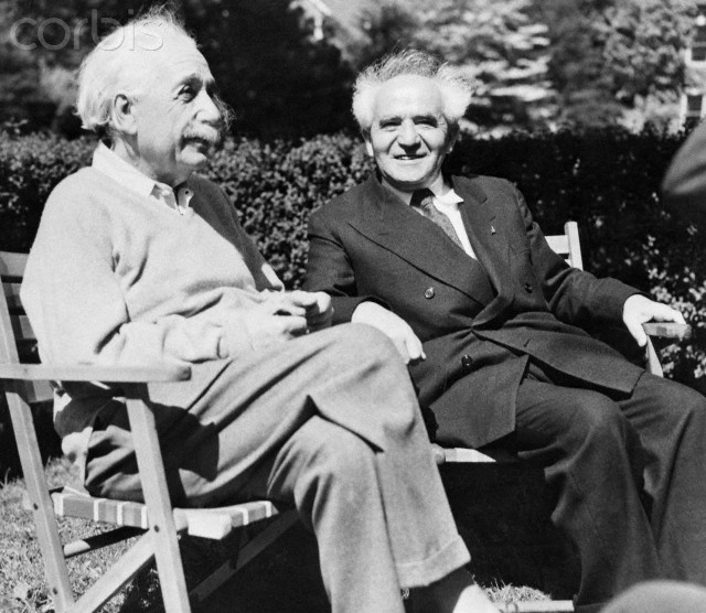 13 May 1951, Princeton, New Jersey, USA --- Physicist Albert Einstein and David Ben-Gurion, first prime minister of Israel, relax in Einstein's backyard. --- Image by © Bettmann/CORBIS
